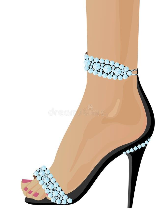 Sapatas com diamantes ilustração do vetor