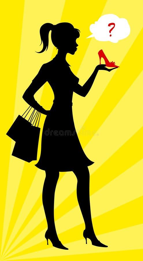 Sapatas da compra da mulher ilustração royalty free