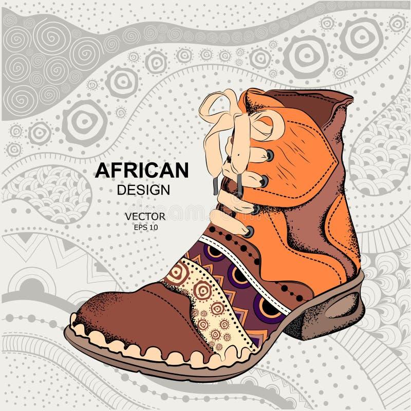 Sapatas da juventude do moderno Bota étnica Projeto africano Ilustração do vetor ilustração stock
