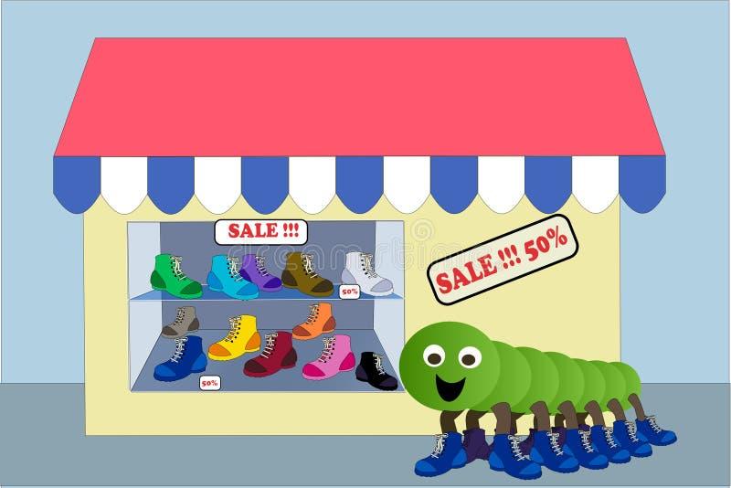 Sapatas da loja ilustração do vetor