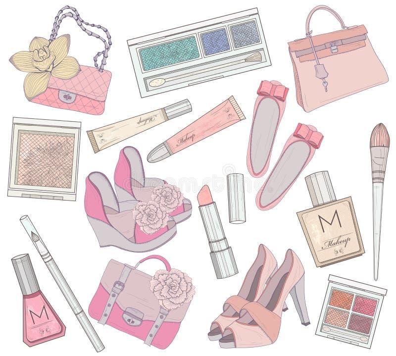 Sapatas das mulheres, composição e jogo de elemento dos sacos. ilustração royalty free