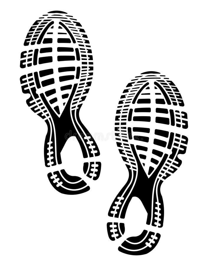 Sapatas das solas da impressão - sapatilhas ilustração stock
