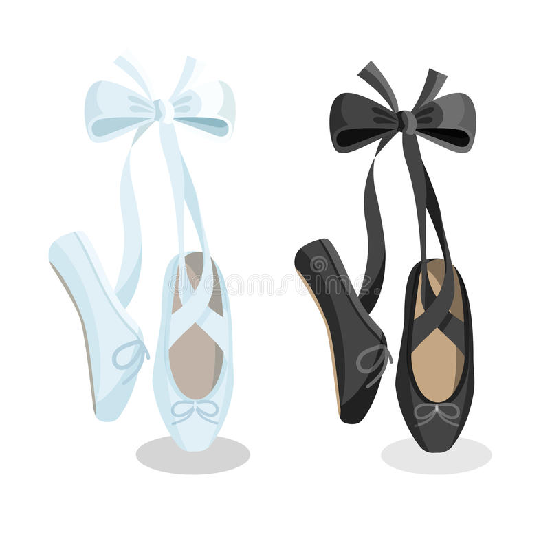 Sapatas de bailado fêmeas dos pointes preto e branco no fundo branco ilustração royalty free