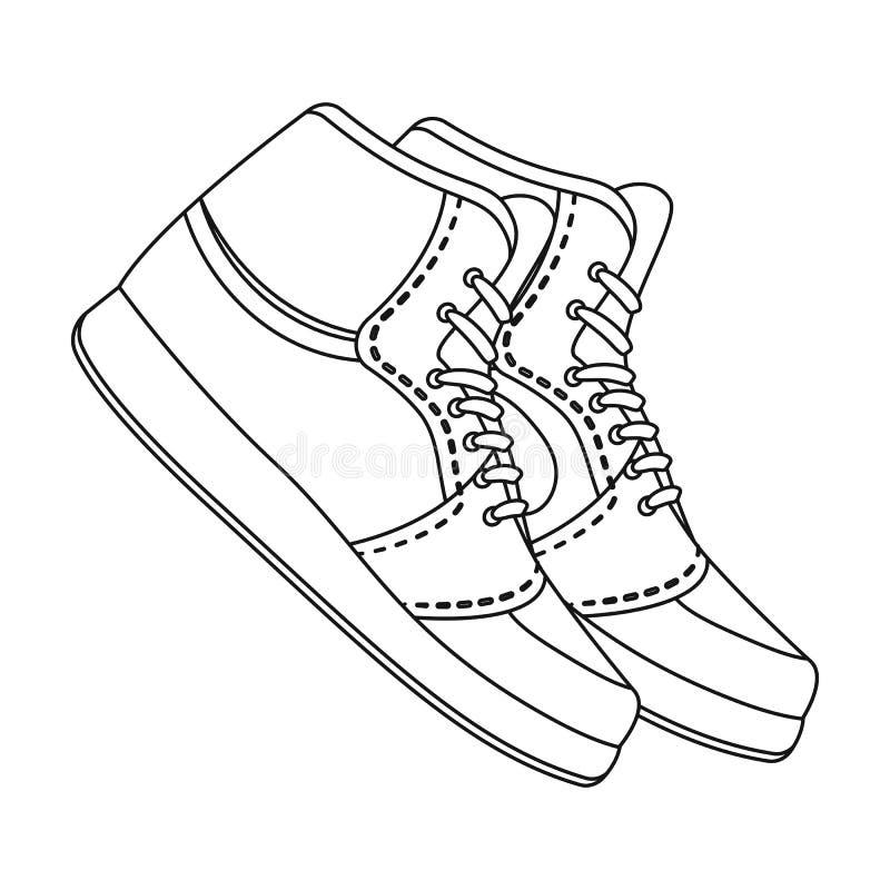 Sapatas de basquetebol Único ícone do basquetebol na Web da ilustração do estoque do símbolo do vetor do estilo do esboço ilustração do vetor