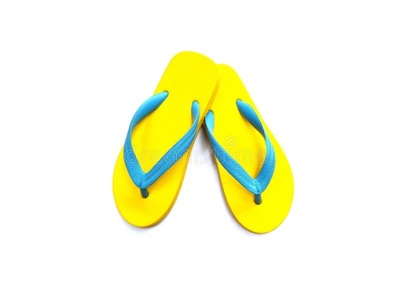 Sapatas de borracha amarelas e azuis do falhanço de aleta imagens de stock