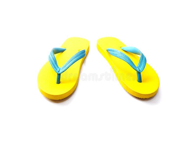 Sapatas de borracha amarelas e azuis do falhanço de aleta fotografia de stock royalty free