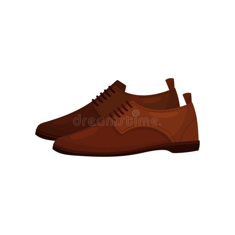 Sapatas de couro marrons clássicas com laços Calçados masculinos na moda Tema da forma dos homens Projeto liso do vetor ilustração do vetor
