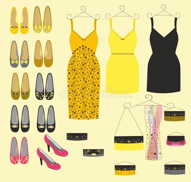 Sapatas de vestido e bolsas à moda para meninas ilustração royalty free