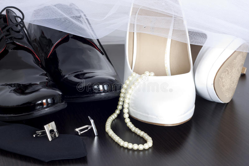 Sapatas do casamento imagens de stock