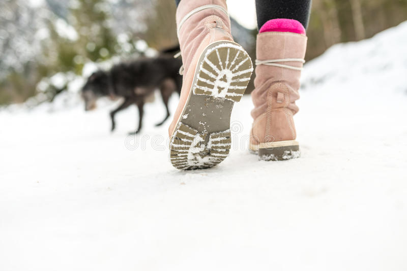 Sapatas do inverno de uma mulher que anda na neve imagem de stock