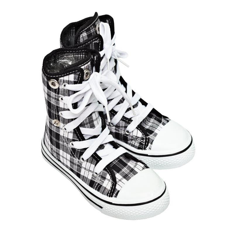 Sapatas dos esportes - sapatilhas superiores elevadas imagem de stock royalty free