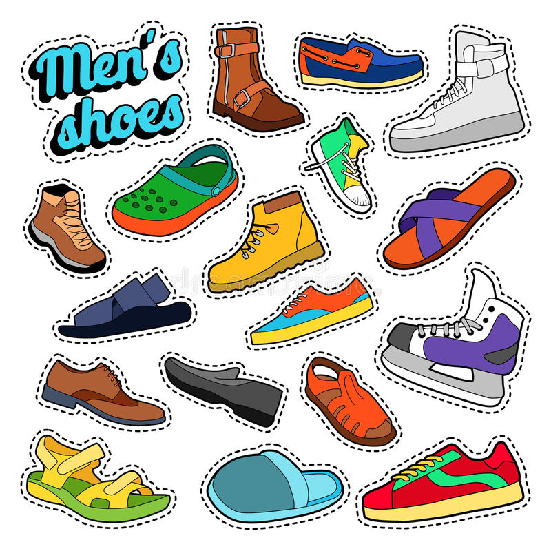 Sapatas e botas da forma dos homens ajustadas para etiquetas, cópias ilustração do vetor