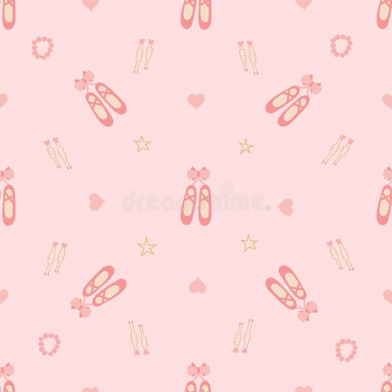 Sapatas e corações do pointe da bailarina em um fundo cor-de-rosa macio ilustração do vetor