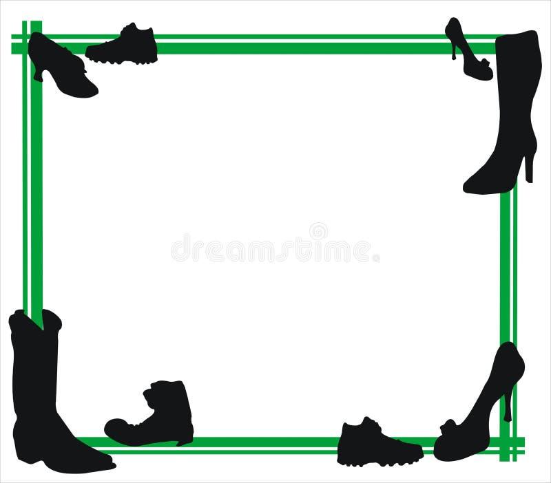 Sapatas e frame verde ilustração stock