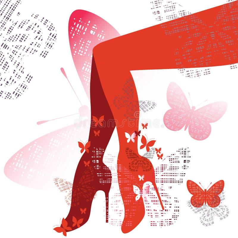 Sapatas e pés vermelhos ilustração royalty free