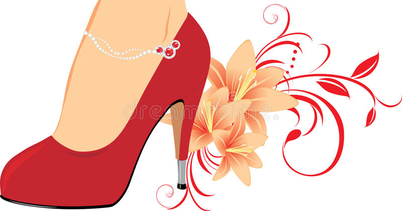 Sapatas fêmeas vermelhas elegantes com lírios ilustração stock