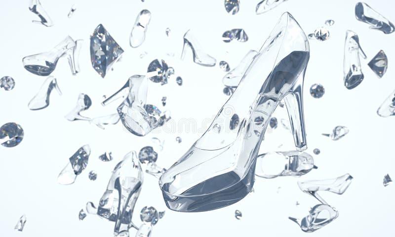 Sapatas feitas do vidro e dos diamantes que flutuam no espaço ilustração stock