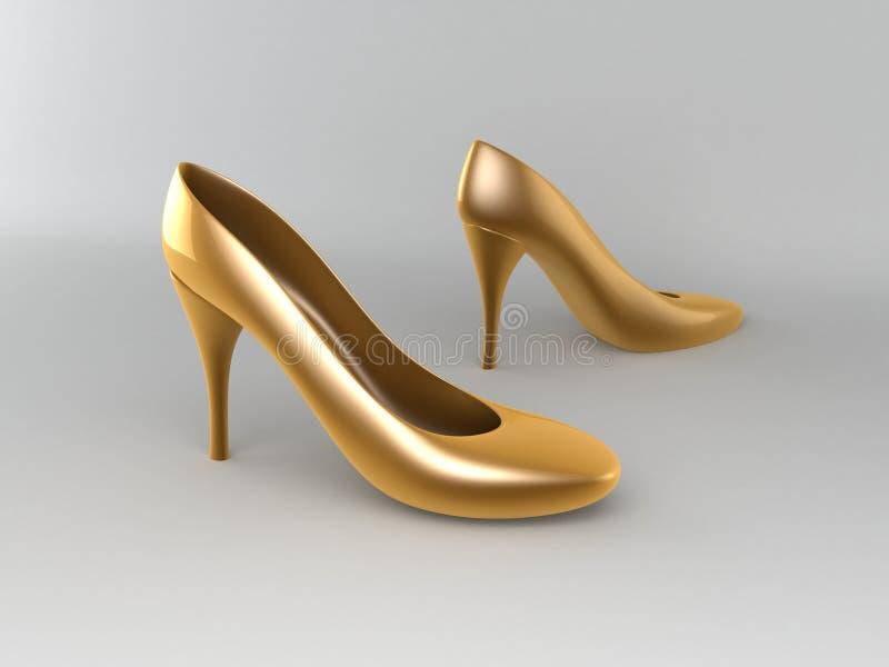 Sapatas high-heeled douradas ilustração stock
