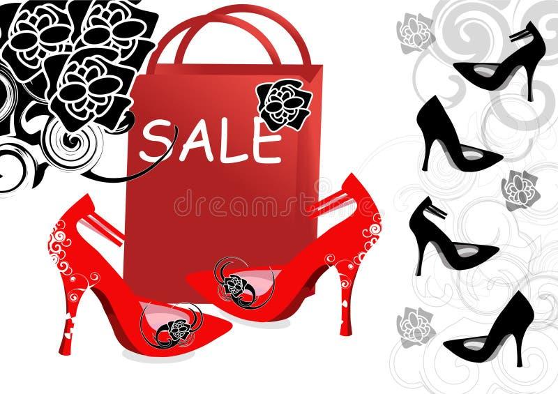 Sapatas High-heeled para a venda ilustração do vetor