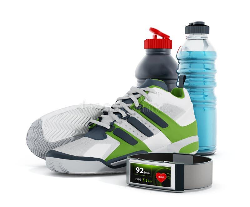 Sapatas movimentando-se, garrafas de água e smartwatch ilustração stock