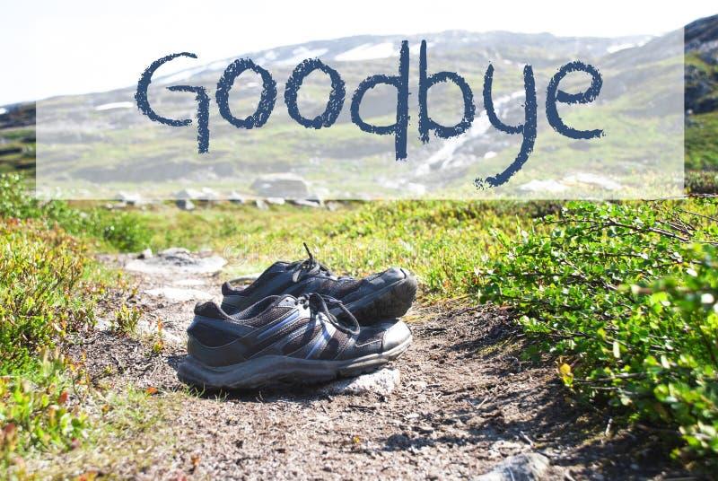Sapatas no trajeto Trekking, texto inglês adeus imagem de stock royalty free
