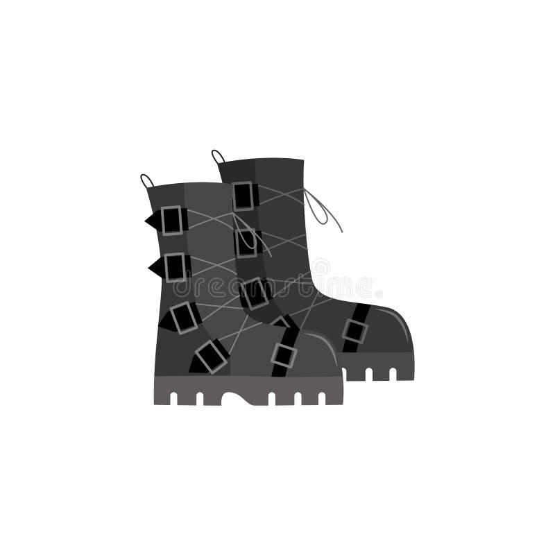 Sapatas pretas cinzentas do punk rock, botas de combate do soldado com curvaturas nervosas ilustração royalty free