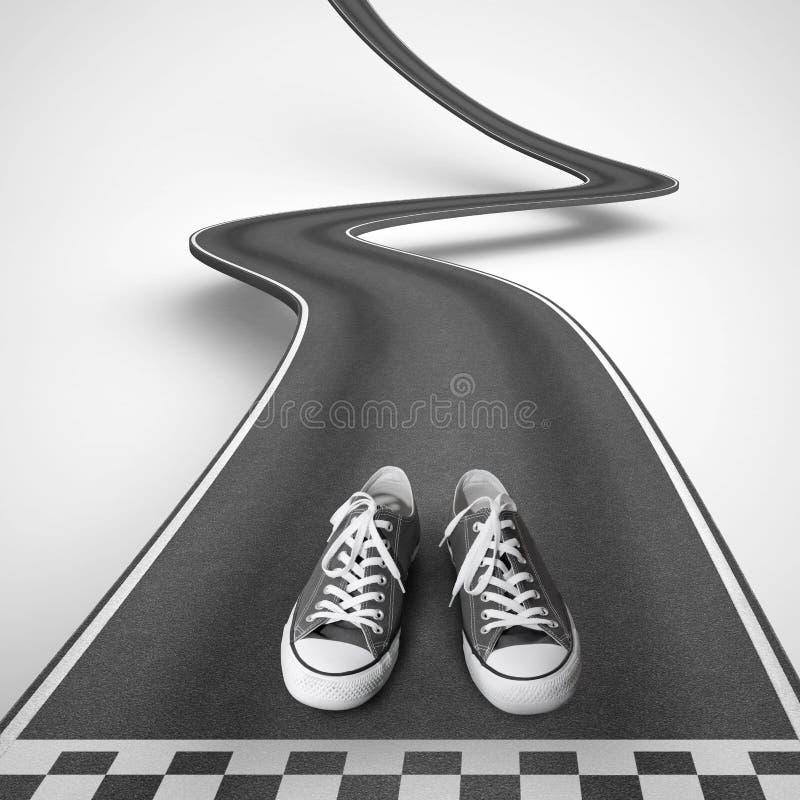 Sapatas prontas para começar ao longo de uma estrada de enrolamento rendição 3d ilustração royalty free