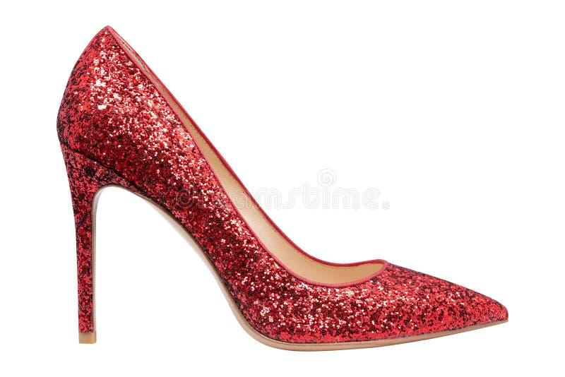 Sapatas vermelhas das mulheres com brilho imagens de stock royalty free