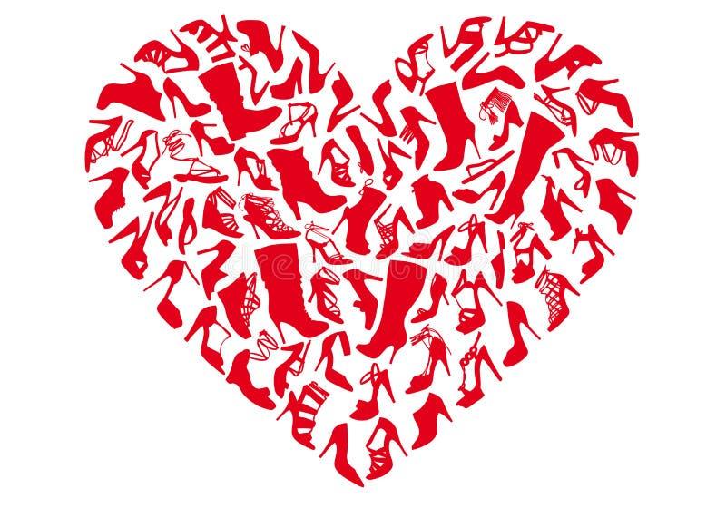 Sapatas vermelhas do coração, vetor ilustração do vetor