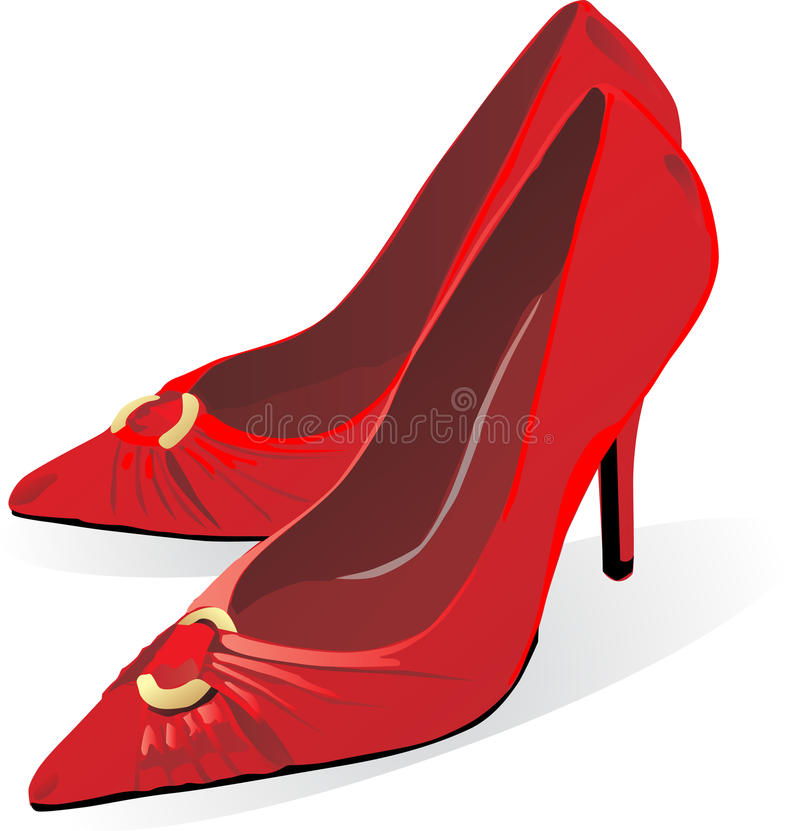 Sapatas vermelhas do estilete ilustração stock