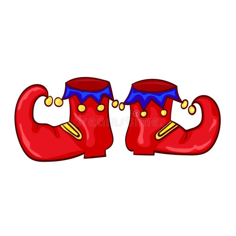Sapatas vermelhas do palhaço com os sinos no fundo branco ilustração stock