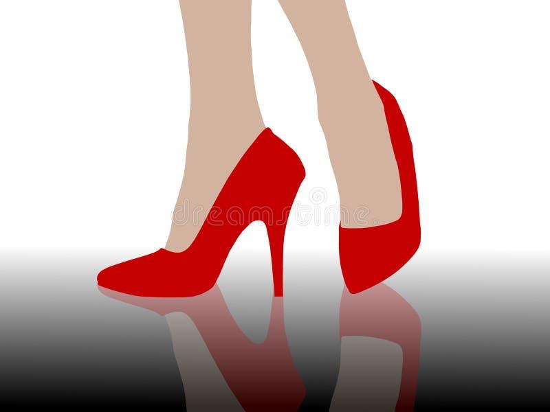 Sapatas vermelhas do salto elevado ilustração do vetor