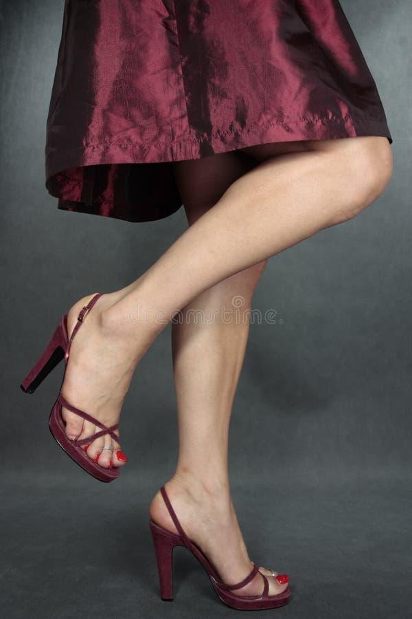sapatas vermelhas dos pés do vestido da mulher no cinza imagem de stock