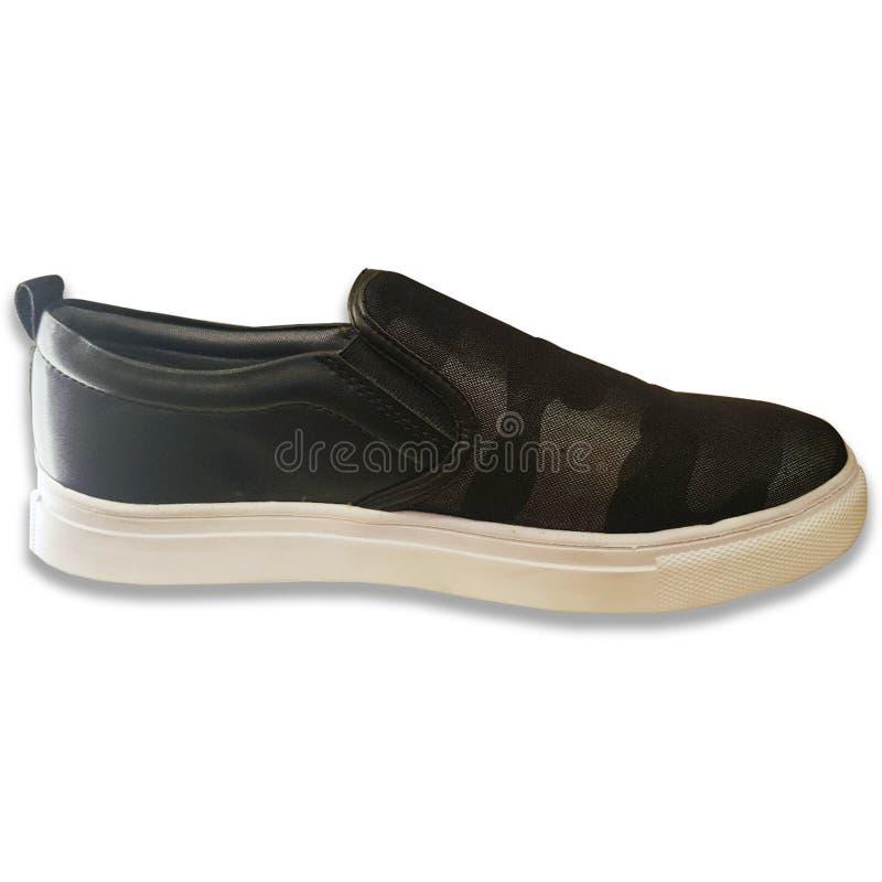 A sapatilha dos homens na cor preta fotografia de stock royalty free