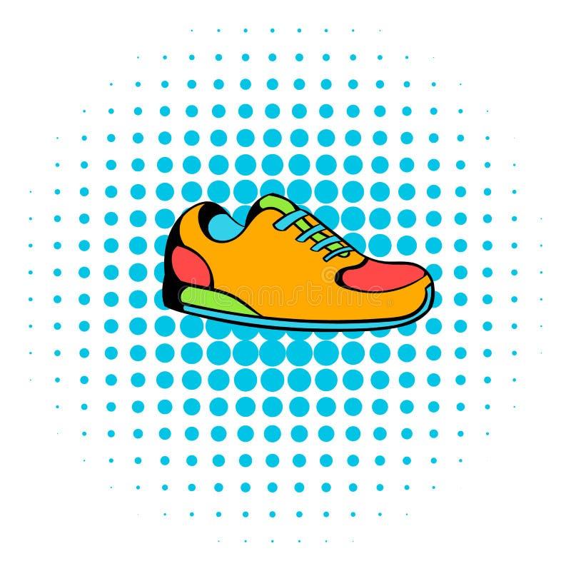 Sapatilhas ícone, estilo da banda desenhada ilustração stock