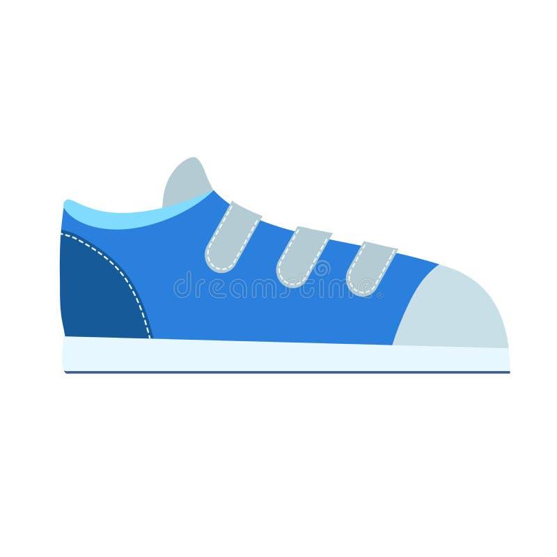 Sapatilhas azuis no branco no estilo liso para o projeto da loja, ilustração conservada em estoque do vetor ilustração royalty free