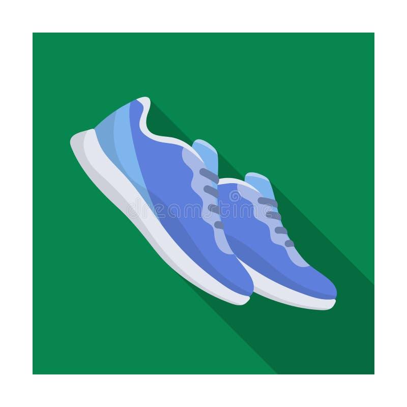 Sapatilhas azuis para esportes Sapatas dos esportes O único ícone do Gym e do exercício no estilo liso vector a ilustração conser ilustração stock