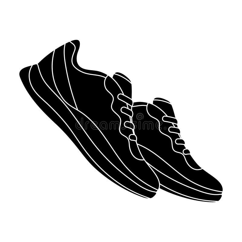 Sapatilhas azuis para esportes Sapatas dos esportes O único ícone do Gym e do exercício no estilo preto vector a ilustração conse ilustração stock