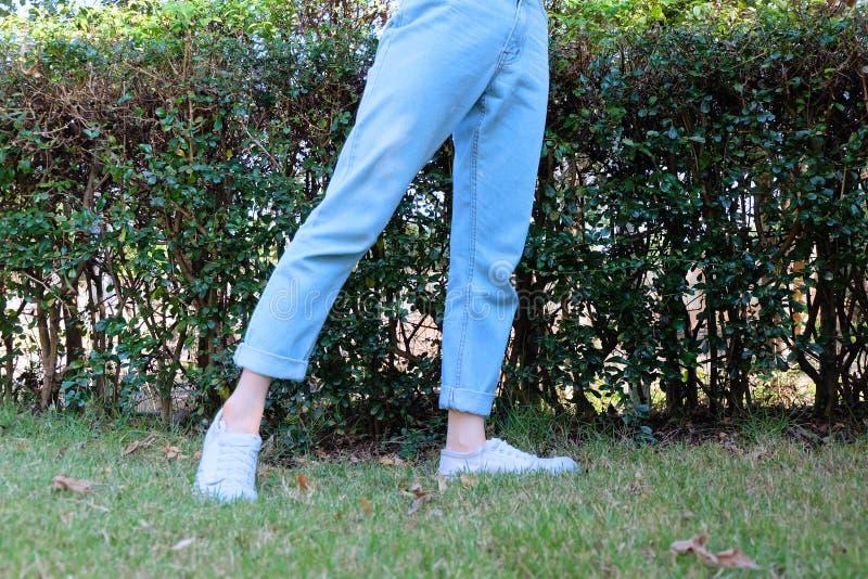 Sapatilhas brancas ocasionais do moderno Sapatas da fêmea e calças brancas vestindo estando de calças de ganga no fundo da nature imagens de stock