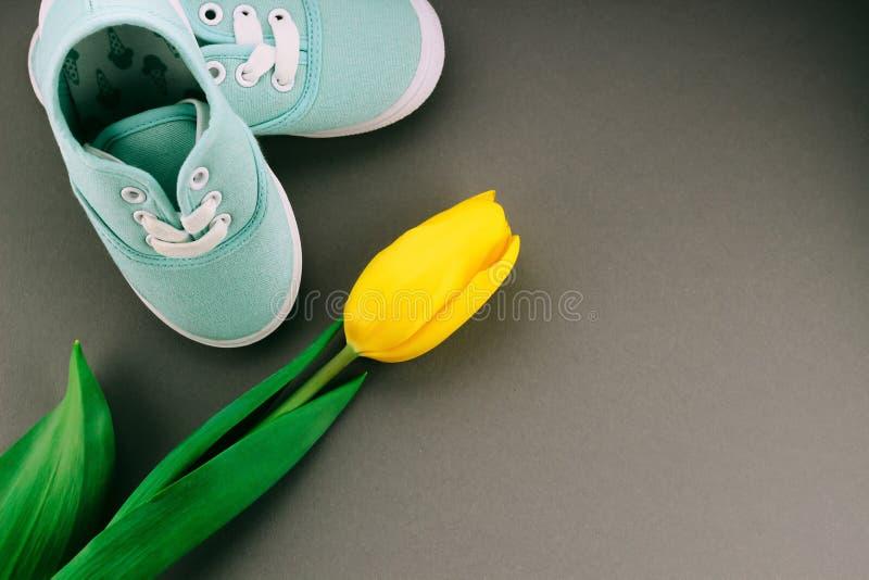 Sapatilhas das crianças com tulipa fotos de stock royalty free