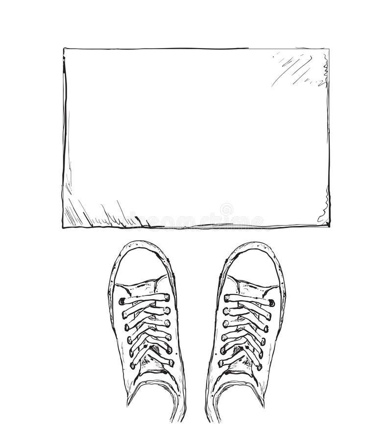 Sapatilhas desenhadas mão Quadro para o texto ilustração do vetor