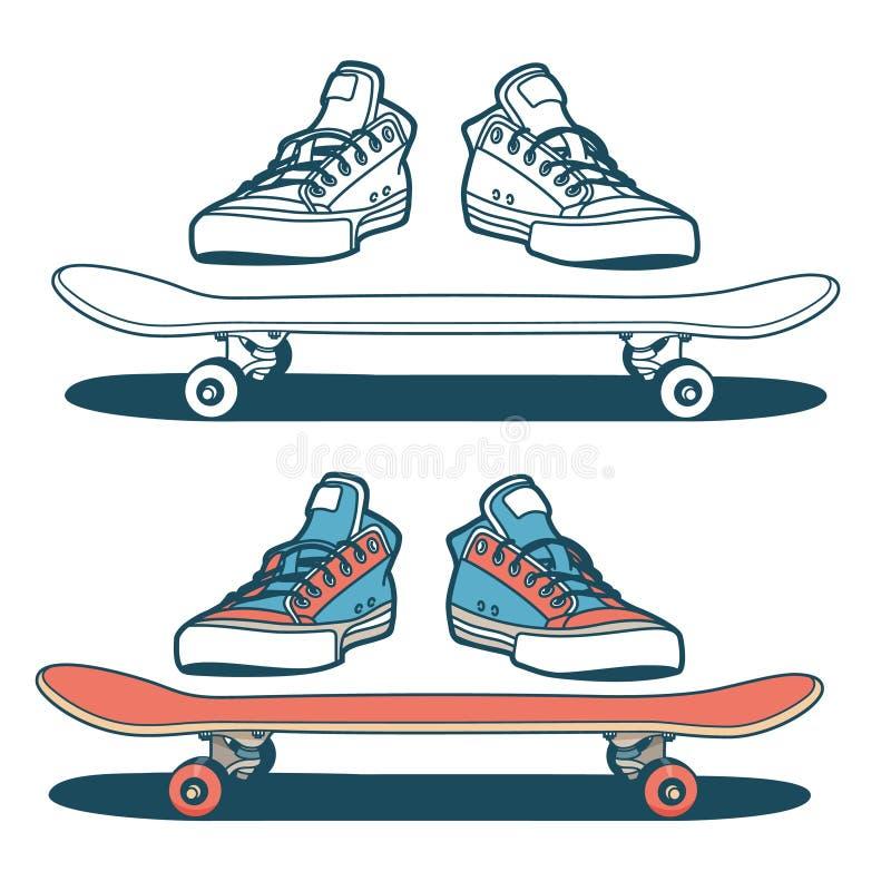 Sapatilhas e skate isolados ilustração stock