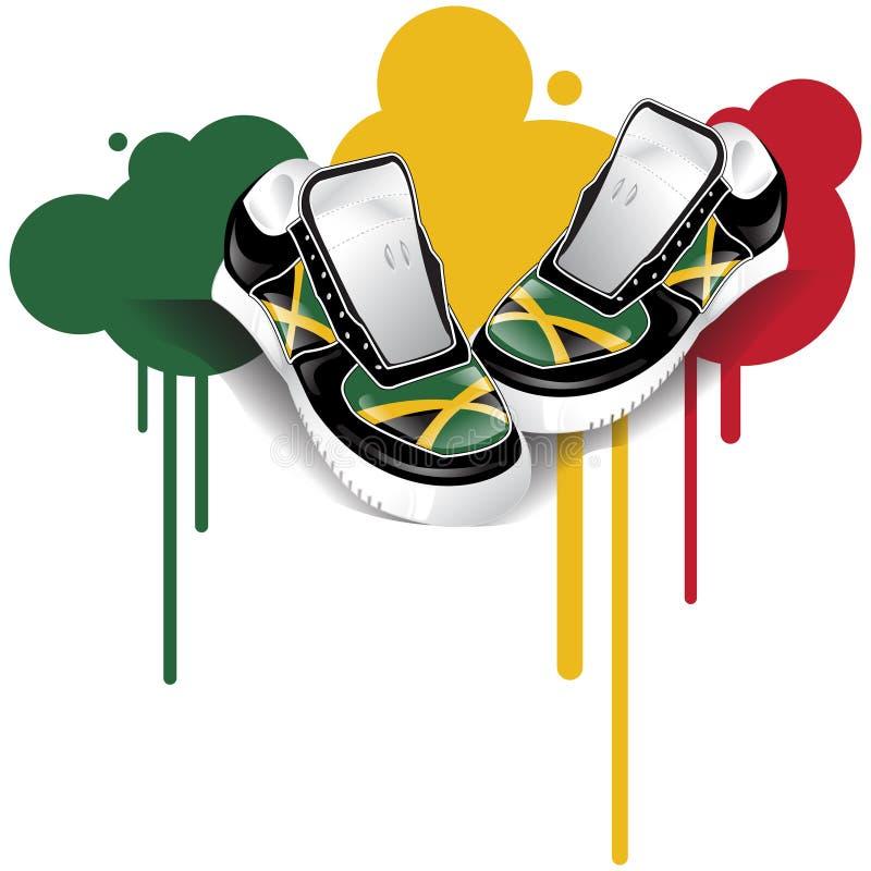 Sapatilhas jamaicanas ilustração stock
