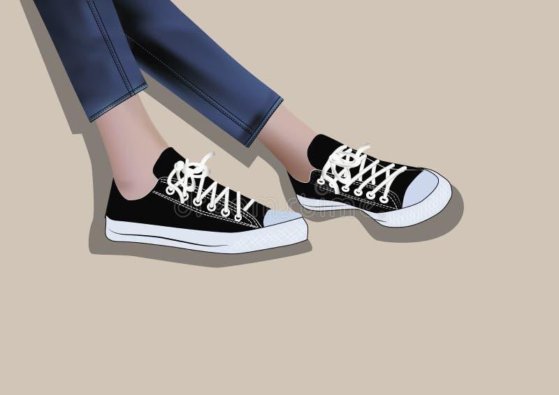 Sapatilhas pretas ilustração stock