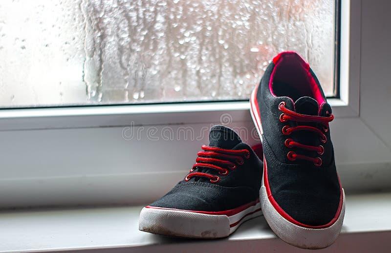 Sapatilhas pretas e vermelhas em uma janela do fundo em um fim do dia chuvoso acima imagens de stock royalty free