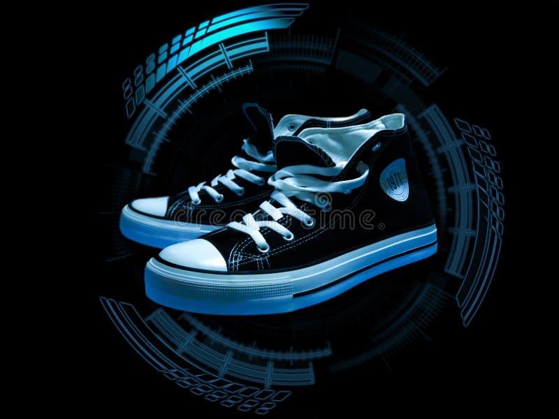 Sapatilhas superiores altas em alto azul - círculo da tecnologia imagens de stock