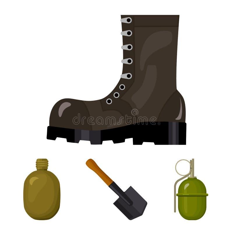 Saperski ostrze, granat ręczny, wojsko kolba, żołnierza ` s but Wojskowego i wojska ustalone inkasowe ikony w kreskówce projektuj ilustracji