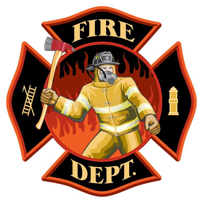Sapeur-pompier à l'intérieur de symbole de croix maltaise illustration libre de droits