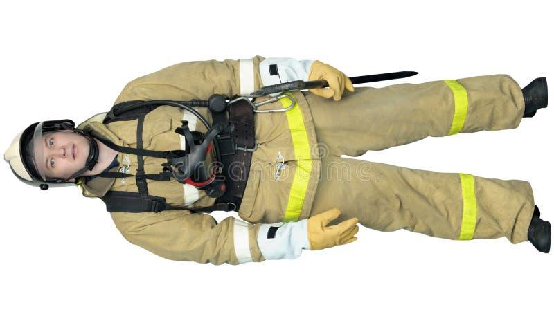 Sapeur-pompier dans des vêtements de protection extérieurs spéciaux image libre de droits