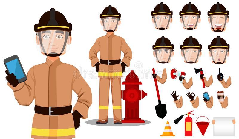 Sapeur-pompier dans l'uniforme professionnel et le casque sûr illustration stock